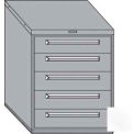 "Equipto 30""W Modular Cabinet 5 Drawers No Divider, 38""H, Keyed Alike Lock-Smooth Reflective White"