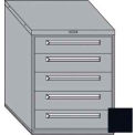 "Equipto 30""W Modular Cabinet 5 Drawers No Divider, 38""H, No Lock-Textured Black"