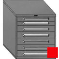 "Equipto 30""W Modular Cabinet 7 Drawers No Divider, 33-1/2""H, Keyed Alike Lock-Textured Cherry Red"