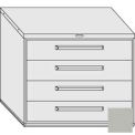 "Equipto 45""W Modular Cabinet 38""H 4 Drawers w/Dividers, Keyed Alike Lock-Textured Dove Gray"