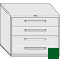 "Equipto 45""W Modular Cabinet 38""H 4 Drawers No Divider, & Lock-Textured Evergreen"