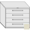 "Equipto 45""W Modular Cabinet 38""H 4 Drawers No Divider, & Lock-Textured Putty"