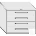 "Equipto 45""W Modular Cabinet 38""H 4 Drawers No Divider, & Lock-Smooth Reflective White"