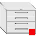 "Equipto 45""W Modular Cabinet 38""H 4 Drawers No Divider, Keyed Alike Lock-Textured Cherry Red"