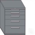 "Equipto 45""W Modular Cabinet 38""H 5 Drawers w/Dividers, & Lock-Smooth Reflective White"