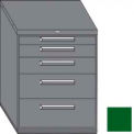 "Equipto 45""W Modular Cabinet 38""H 5 Drawers No Divider, Keyed Alike Lock-Textured Evergreen"
