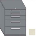 "Equipto 45""W Modular Cabinet 38""H 5 Drawers No Divider, Keyed Alike Lock-Textured Putty"