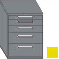 "Equipto 45""W Modular Cabinet 38""H 5 Drawers No Divider, No Lock-Textured Safety Yellow"