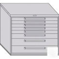 "Equipto 45""W Modular Cabinet 38""H 8 Drawers w/Dividers, & Lock-Smooth Reflective White"