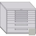 "Equipto 45""W Modular Cabinet 38""H 8 Drawers No Divider, & Lock-Textured Dove Gray"