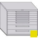 "Equipto 45""W Modular Cabinet 38""H 8 Drawers No Divider, & Lock-Textured Safety Yellow"