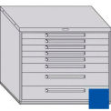 "Equipto 45""W Modular Cabinet 38""H 8 Drawers No Divider, Keyed Alike Lock-Textured Regal Blue"