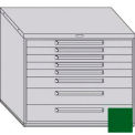 "Equipto 45""W Modular Cabinet 38""H 8 Drawers No Divider, Keyed Alike Lock-Textured Evergreen"