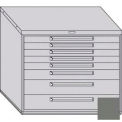 "Equipto 45""W Modular Cabinet 38""H 8 Drawers No Divider, Keyed Alike Lock-Smooth Office Gray"