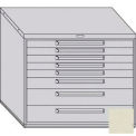 "Equipto 45""W Modular Cabinet 38""H 8 Drawers No Divider, Keyed Alike Lock-Textured Putty"
