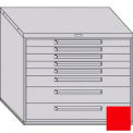 "Equipto 45""W Modular Cabinet 38""H 8 Drawers No Divider, Keyed Alike Lock-Textured Cherry Red"