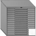 "Equipto 45""W Modular Cabinet 44""H, 13 Drawers No Divider, Keyed Alike Lock-Smooth Reflective White"