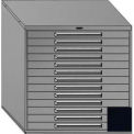"Equipto 45""W Modular Cabinet 44""H, 13 Drawers No Divider, No Lock-Textured Black"
