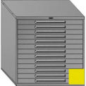 """Equipto 45""""W Modular Cabinet 44""""H, 13 Drawers No Divider, No Lock-Textured Safety Yellow"""