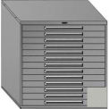 "Equipto 45""Wx44""H Modular Cabinet 13 Drawers No Divider, & Lock-Textured Dove Gray"