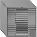 "Equipto 45""Wx44""H Modular Cabinet 13 Drawers No Divider, Keyed Alike Lock-Smooth Office Gray"