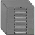 """Equipto 45""""W Modular Cabinet 44""""H, 9 Drawers No Divider, No Lock-Smooth Office Gray"""