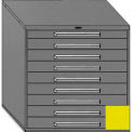 """Equipto 45""""W Modular Cabinet 44""""H, 9 Drawers No Divider, No Lock-Textured Safety Yellow"""