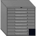 "Equipto 45""W Modular Cabinet 44""H, 9 Drawers w/Dividers, Keyed Alike Lock-Textured Black"
