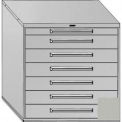 """Equipto 45""""W Modular Cabinet 44""""H, 7 Drawers No Divider, & Lock-Textured Dove Gray"""