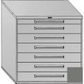 "Equipto 45""W Modular Cabinet 44""H, 7 Drawers w/Dividers, Keyed Alike Lock-Smooth Office Gray"