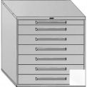 "Equipto 45""W Modular Cabinet 44""H, 7 Drawers w/Dividers, Keyed Alike Lock-Smooth Reflective White"