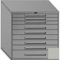 """Equipto 45""""Wx44""""H Modular Cabinet 9 Drawers No Divider, & Lock-Textured Dove Gray"""