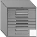 """Equipto 45""""Wx44""""H Modular Cabinet 9 Drawers No Divider, & Lock-Smooth Reflective White"""