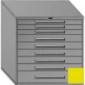 """Equipto 45""""Wx44""""H Modular Cabinet 9 Drawers No Divider, & Lock-Textured Safety Yellow"""