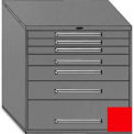 """Equipto 45""""Wx44""""H Modular Cabinet 7 Drawers No Divider, & Lock-Textured Cherry Red"""