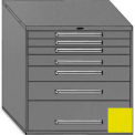 """Equipto 45""""Wx44""""H Modular Cabinet 7 Drawers No Divider, & Lock-Textured Safety Yellow"""