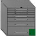 "Equipto 45""Wx44""H Modular Cabinet 7 Drawers No Divider, Keyed Alike Lock-Textured Evergreen"
