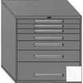 "Equipto 45""Wx44""H Modular Cabinet 7 Drawers No Divider, Keyed Alike Lock-Smooth Reflective White"