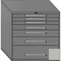 "Equipto 45""Wx44""H Modular Cabinet 7 Drawers w/Dividers, & Lock-Textured Dove Gray"