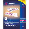 """Avery® Printable Tickets w/Tear-Away Stubs 16154, 8-1/2"""" x 11"""", Matte White, 200/Pack"""
