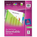 Avery® Plastic Pocket Insertable Tab Dividers, Assorted, 5 Tabs/Set