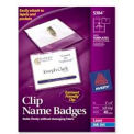 """Avery® Clip Style Name Badges, 3"""" x 4"""", Clear, 40/Box"""