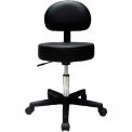 """Pneumatic Mobile Stool with Back, 18"""" - 22""""H, Black"""
