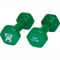 CanDo® Vinyl-Coated Cast Iron Dumbbell, Green, 3 lb., 1 Pair