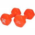 CanDo® Vinyl-Coated Cast Iron Dumbbell, Orange, 10 lb., 1 Pair