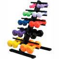 CanDo® Vinyl-Coated Cast Iron Dumbbell Set with Floor Rack, 10 Piece Set