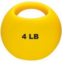 "CanDo® One-Handle Medicine Ball, 4 lb., 9"" Diameter, Yellow"