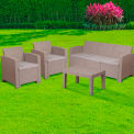 Flash Furniture 4-Piece Outdoor Patio Set - Faux Rattan - Light Gray with Light Gray Cushions