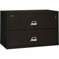 """Fireking Fireproof 2 Drawer Lateral File Cabinet - Letter-Legal Size 44-1/2""""W x 22""""D x 28""""H - Black"""