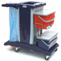 Modular Plastic Cart - Base Unit W/ 2 Flat Mop Buckets & Lids And Rilsan Support